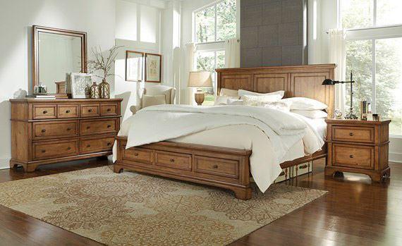 alder creek queen panel storage bedroom set | unclaimed freight