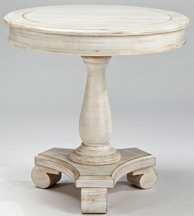 Cottage Accents White Round End Table