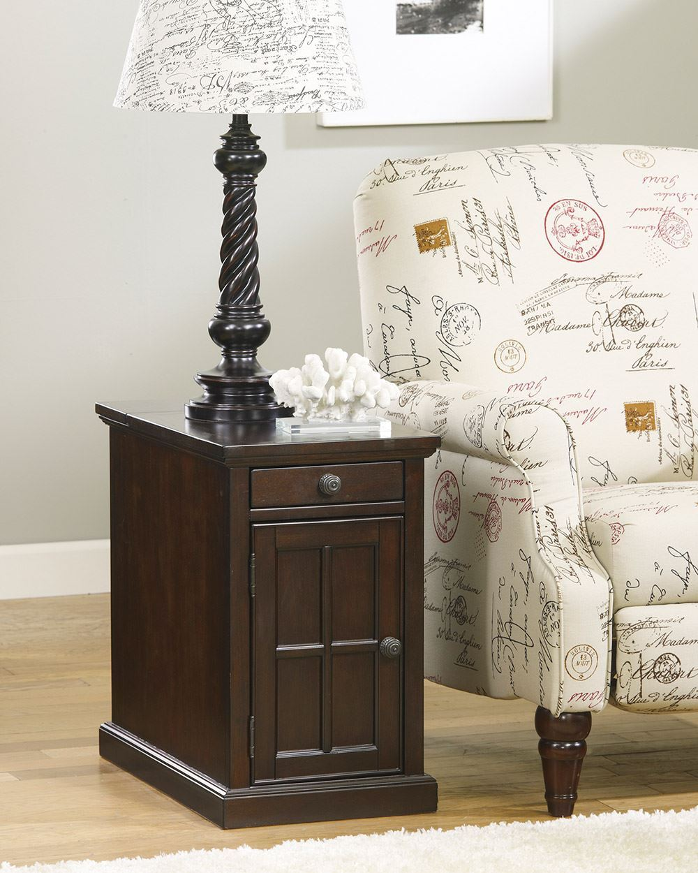 Picture of Dark Brown Power Chairside End Table