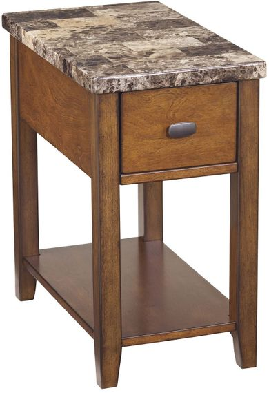 Faux Marble Chairside End Table