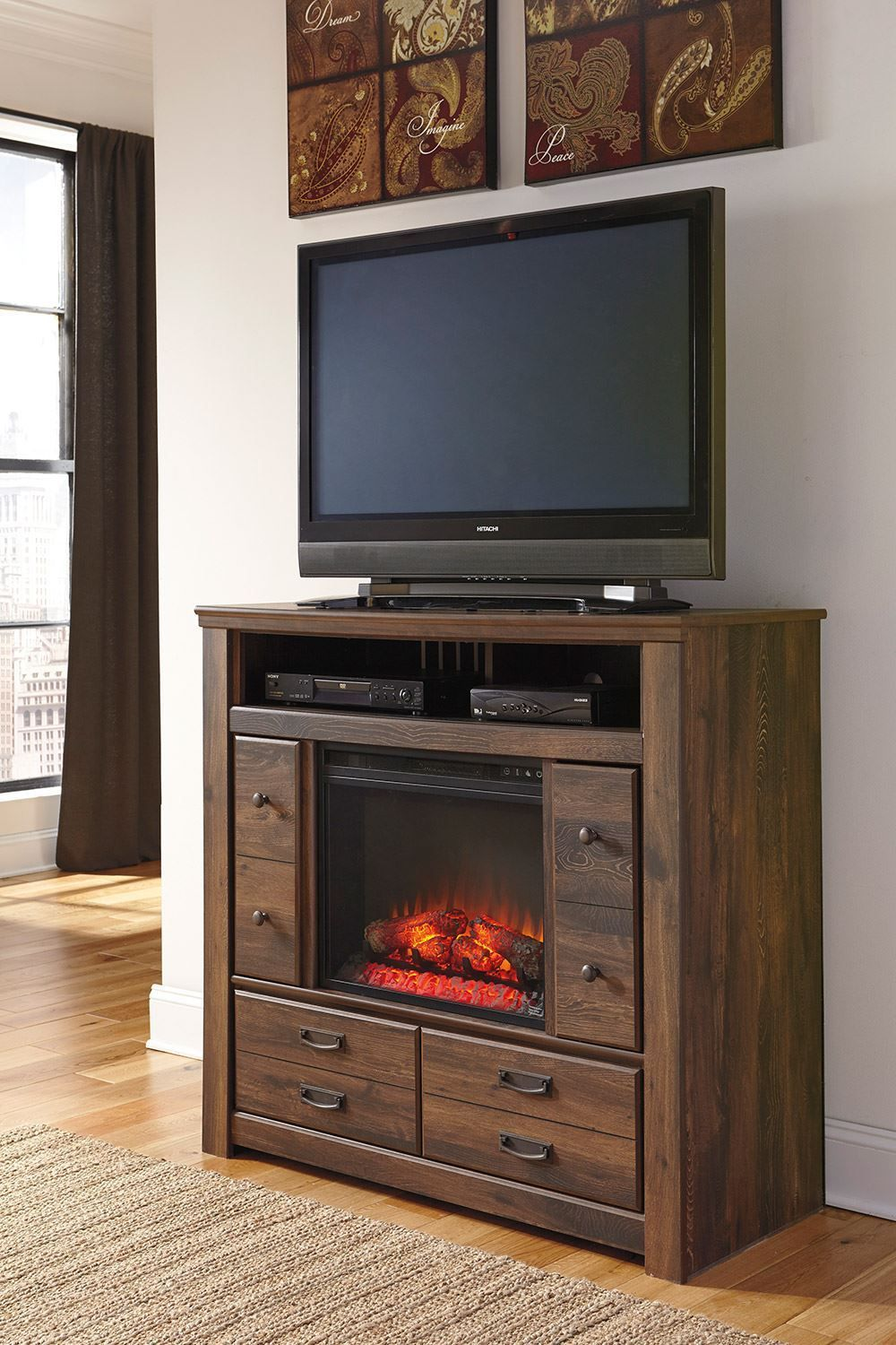 Picture of Quinden Media Chest with Fireplace