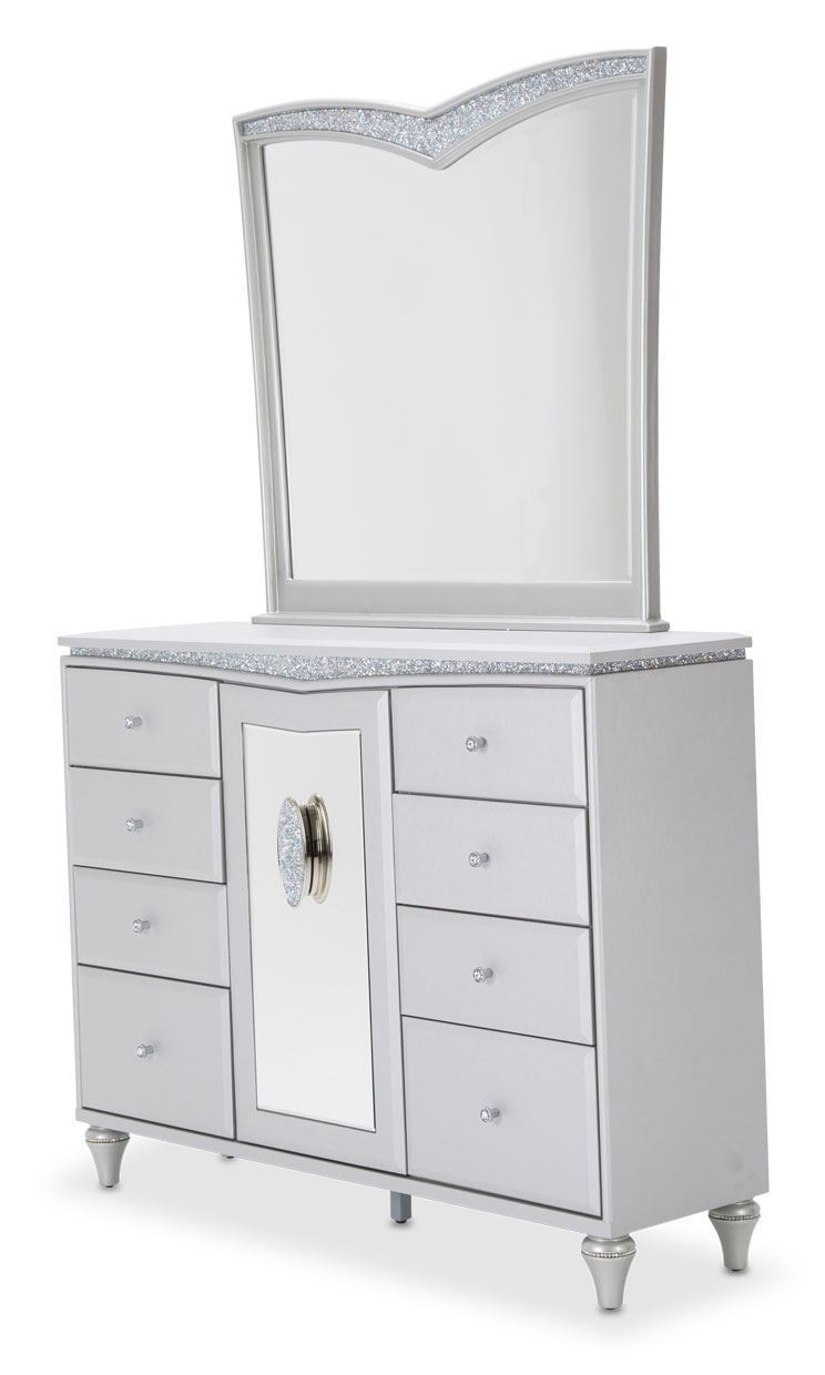 Picture of Melrose Plaza Dove Dresser and Mirror Set