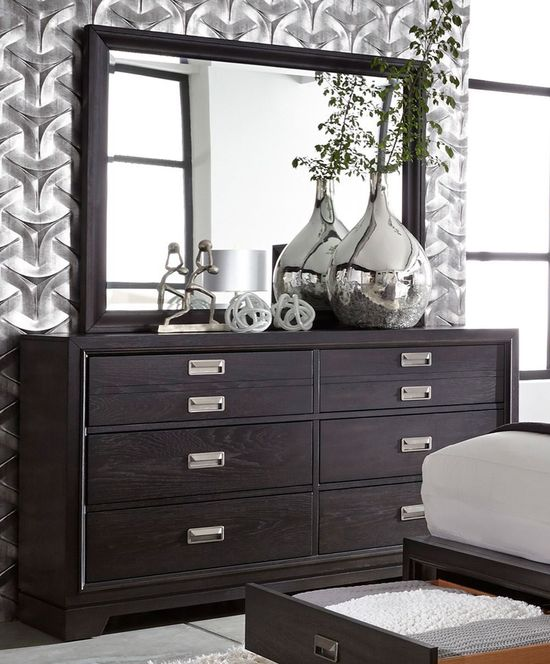 Picture of Fulda Black Dresser and Mirror