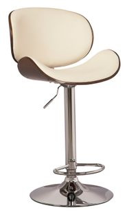 Gaslift Bone Brown Upholstered Swivel Barstool