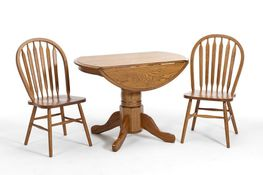 42 Inch Drop Leaf Table with Two Side Chairs