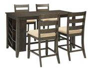 Rokane Rectangular Center Storage Table with Four Stools