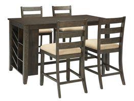 Rokane Rectangular Center Storage Table with Four Stools