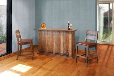 Pine Bar with Two Stools