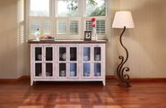 Antique White 71 Inch Console with Six Glass Doors