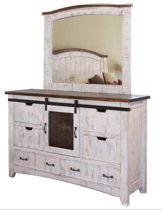 Picture of Pueblo White Dresser and Mirror