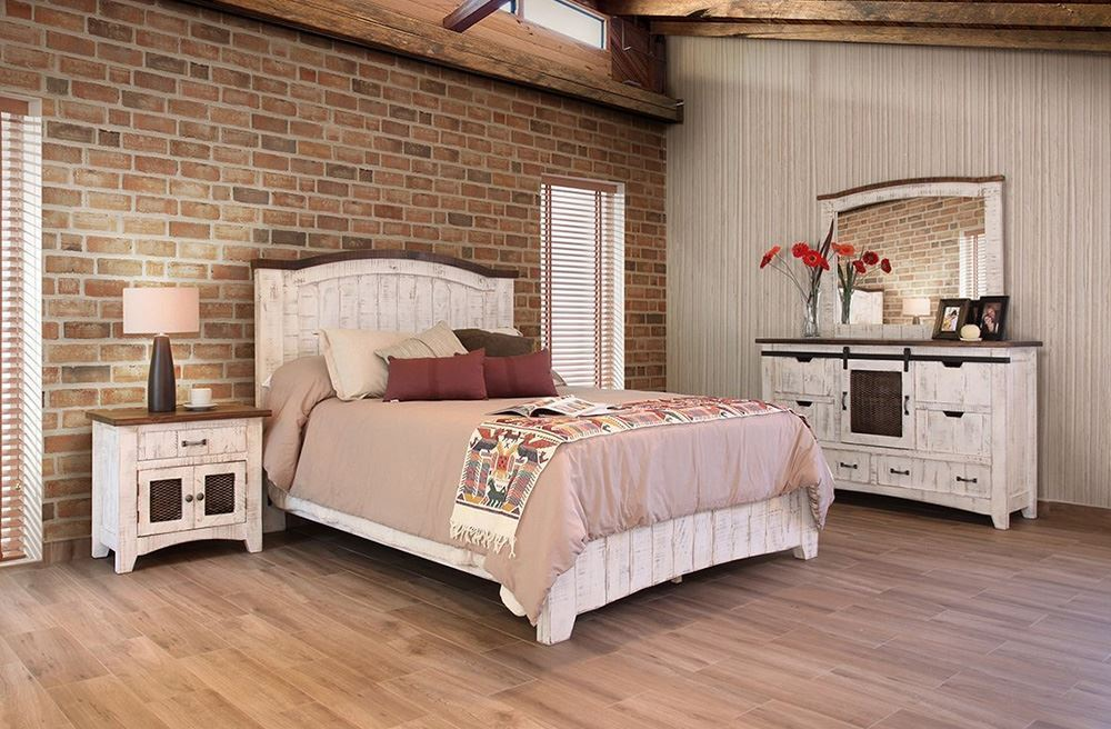 queen bedroom set Picture of Pueblo White Queen Bedroom Set
