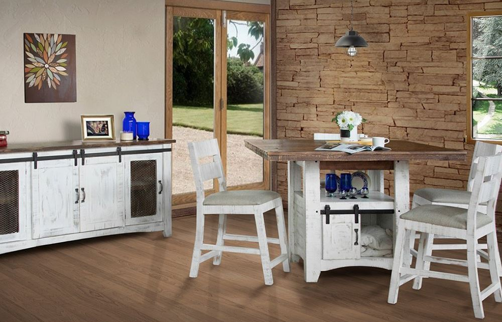 Picture of Pueblo White Counter Table with 4 Stools