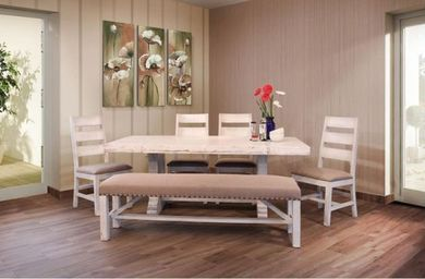 Terra White 79 Inch Table with Four Chairs