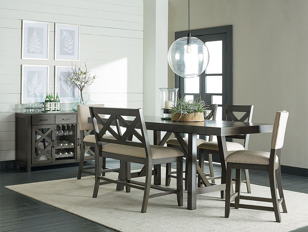 Picture of Omaha Grey Counter Height Table with Stools and Bench