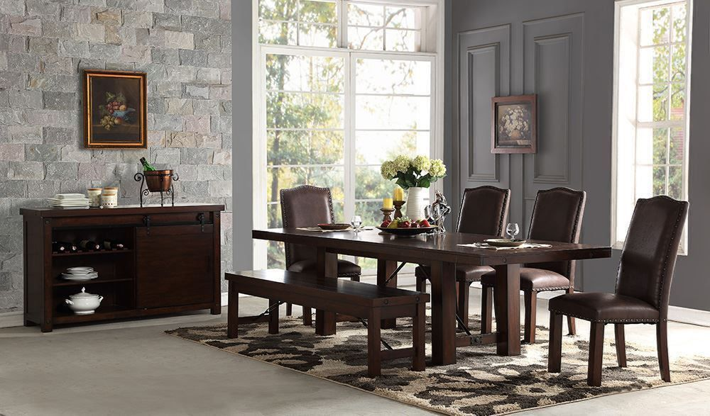 Picture of Audrey Dining Table with Two Side Chairs, Two Parson Chairs, and One Bench