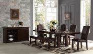 Audrey Dining Table with Two Side Chairs, Two Parson Chairs, and One Bench
