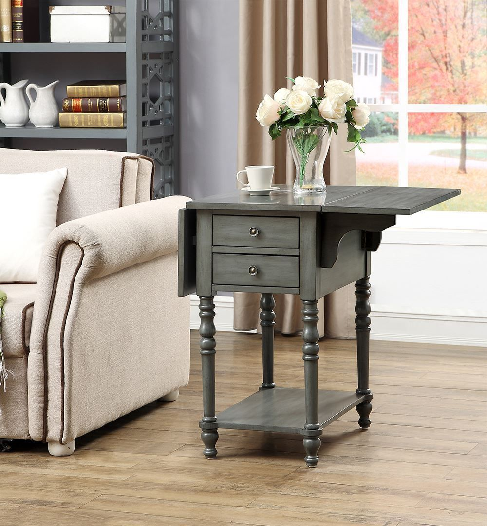 Picture of Sandals Grey Drop Leaf Two Drawer Table