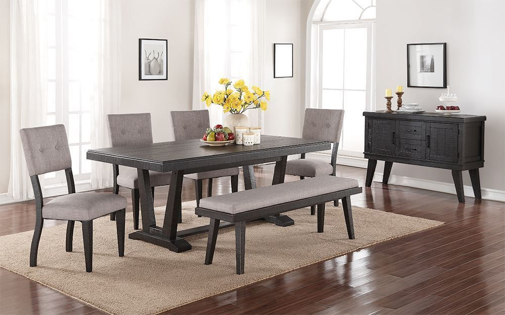 Picture of Aqua Dining Table with Four Chairs and One Bench