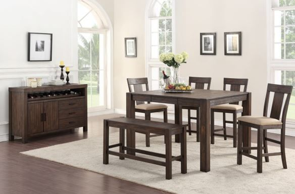 Picture of Andie Counter Table with Four Stools and One Bench