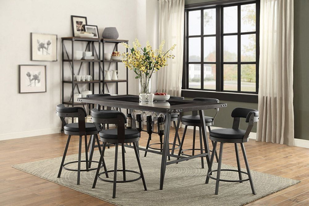 Picture of Bistre Counter Table with Four Stools