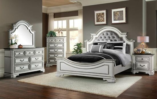 Leighton Manor Antique White Queen Bedroom Set | The Furniture Mart