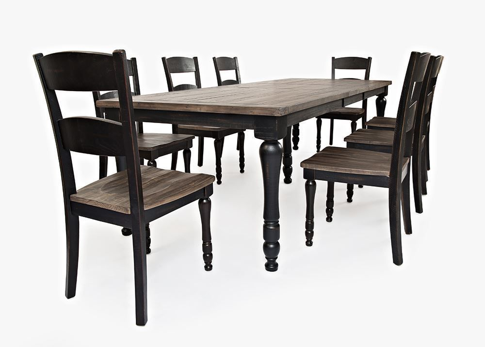 Picture of Madison Black Rectangular Extension Table with Six Chairs