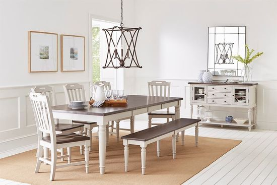 Picture of Orchard Park Extension Dining Table with Four Chairs and Bench