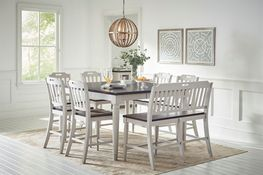 Orchard Park Extension Counter Table with Four Stools and One Bench