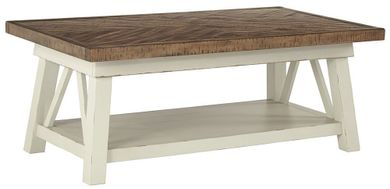 Stownbranner White-Brown Rectangular Cocktail Table