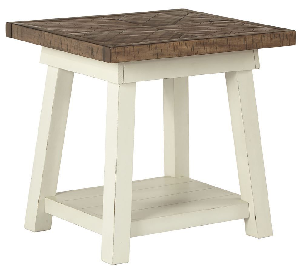 Picture of Stownbranner White-Brown Rectangular End Table