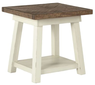 Stownbranner White-Brown Rectangular End Table