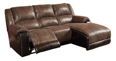 Nantahala Coffee Three Piece Chaise Sofa