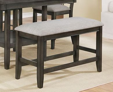 Fulton Grey Upholstered Counter Bench