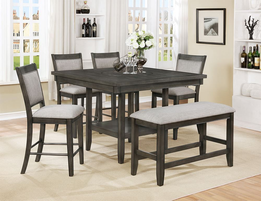 Picture of Fulton Grey Counter Table with Four Stools and One Bench