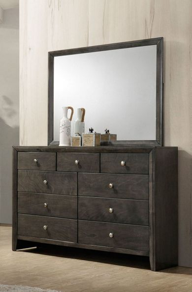 Evan Grey Dresser and Mirror Set