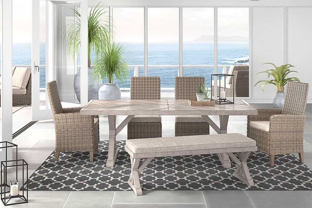 Picture of Beachcroft Table with Two Side Chairs, Two Arm Chairs and One Bench