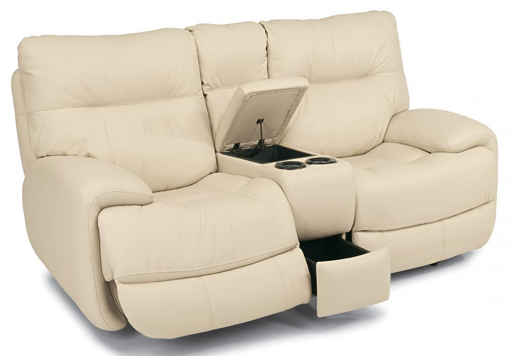 Picture of Evian Linen Power Reclining Console Loveseat