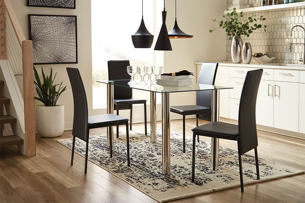 Picture of Sariden Table with Four Black Chairs