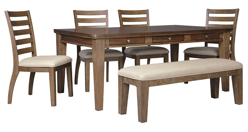 Picture of Flynnter Rectangular Table with Bench and 4 Chairs