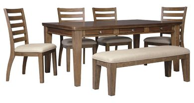 Flynnter Rectangular Table with Bench and 4 Chairs