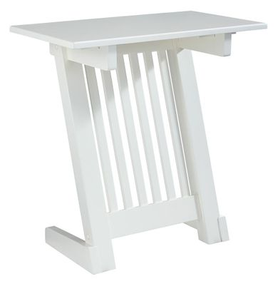 Braunner White Chairside Table