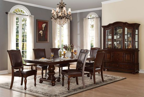 Picture of Lordsburg Double Pedestal Extension Table with Four Side Chairs and Two Arm Chairs