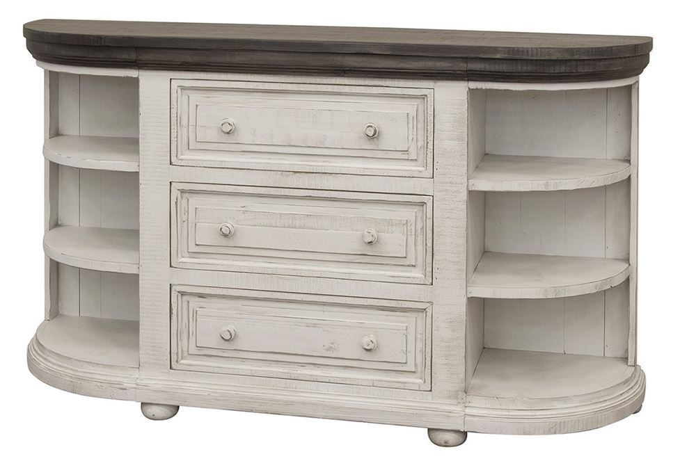 Picture of Luna White and Stone Three Drawer Six Shelf Console
