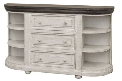 Luna White and Stone Three Drawer Six Shelf Console