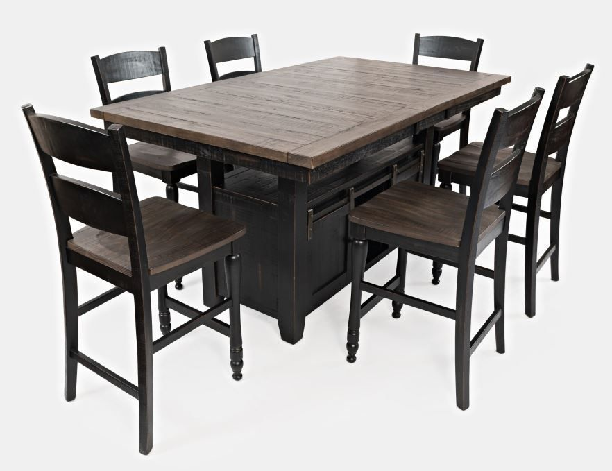 Picture of Madison Black Convertible Extension Table with Six Stools