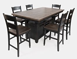 Madison Black Convertible Extension Table with Six Stools