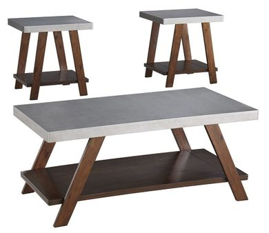 Bellenteen Brown Silver Three Pack Cocktail Tables