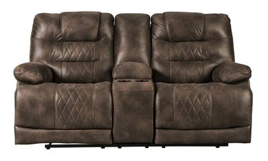 Welsford Walnut Power Reclining Console Loveseat