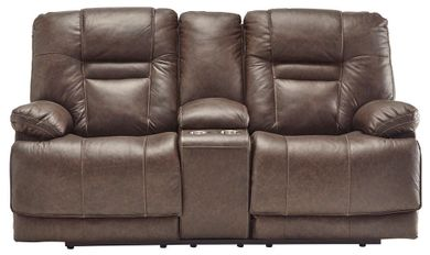 Wurstrow Umber Power Reclining Console Loveseat