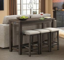 Stone Bar Table with Three Stools